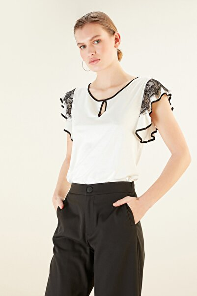 Mudo Kadın Kırık Beyaz Dantel Detaylı Pamuklu Bluz 368266