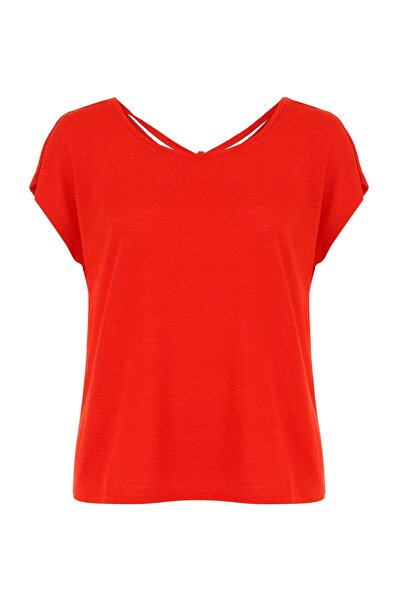 Mudo Kadın Kırmızı Arkası Büzgülü T-Shirt 383607