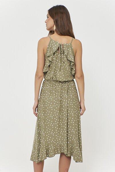 Kadın Haki Volanlı Puantiyeli Elbise Fİ768
