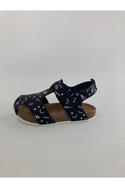 Minican Hakiki Deri Baskılı Unısex Siyah Çocuk Sandalet