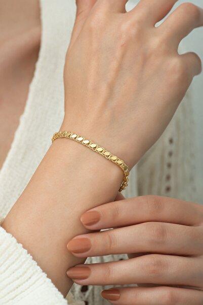 Papatya Silver 925 Ayar Gümüş Pul Zincir Kadın Bileklik Altın Kaplama