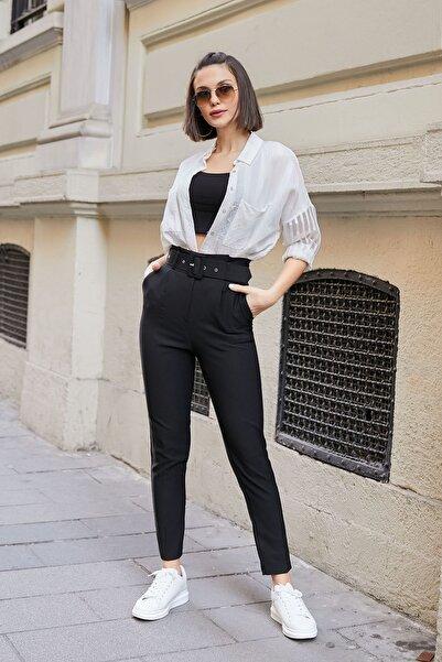 Yüksek Bel Kemerli Pantolon - Siyah