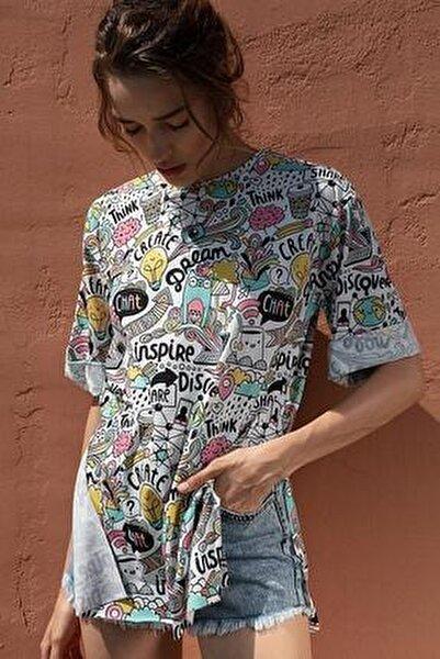 Kadın Çok Renkli Renkli Baskılı Kısa Kollu Tişört Y20S110-3124