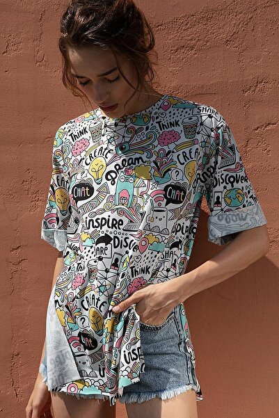 Y-London Kadın Çok Renkli Renkli Baskılı Kısa Kollu Tişört Y20S110-3124