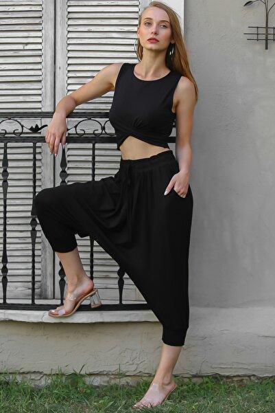 Chiccy Kadın Siyah Bohem Paçaları Gipe Detaylı Şalvar Pantolon M10060000PN99077