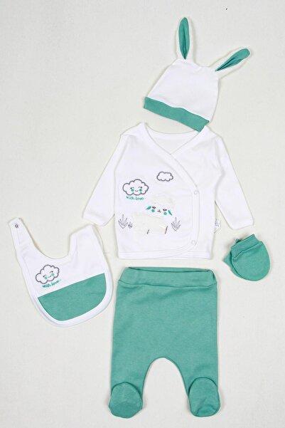 Nonna Baby Berkek Bebek Beyaz  Yeşil Koyun Nakış Detaylı Yeni Doğan Takım