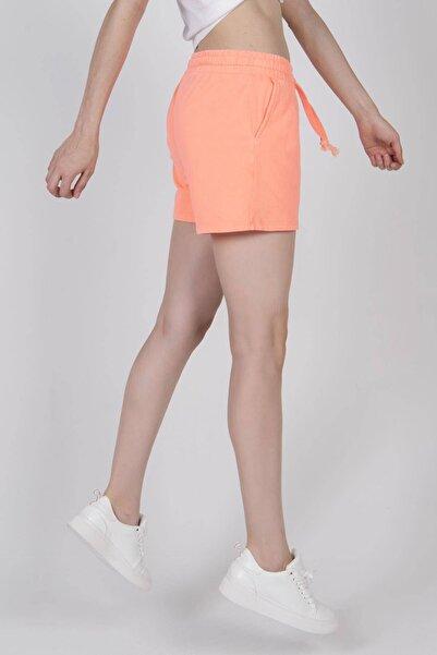 Addax Kadın Neon Turuncu Bağlama Detaylı Şort Ş9455 ADX-0000022569