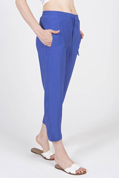Addax Kadın İndigo Bağlama Detaylı Pantolon PN8001 ADX-0000022673