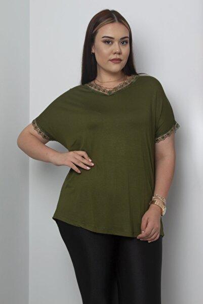 Şans Kadın Haki Düşük Kol Dantel Detaylı V Yaka Bluz 65N17184