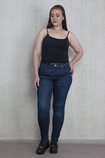 Kadın Lacivert Likralı 5 Cepli Skınny Kot Pantolon 65N17250