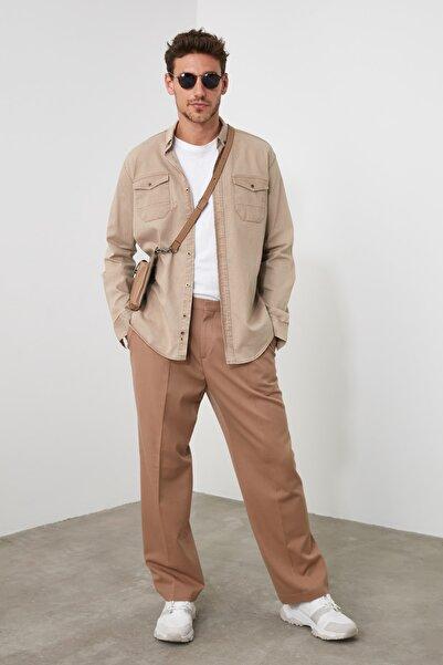 TRENDYOL MAN Bej Erkek Metal Düğmeli Gömlek TMNSS20GO0104