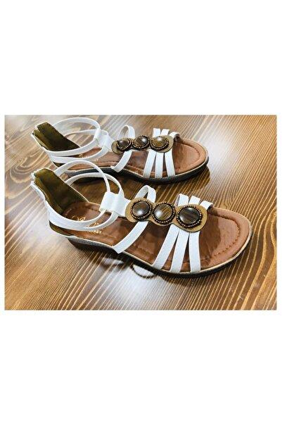 Retro Kadın Bej Tokalı Sandalet