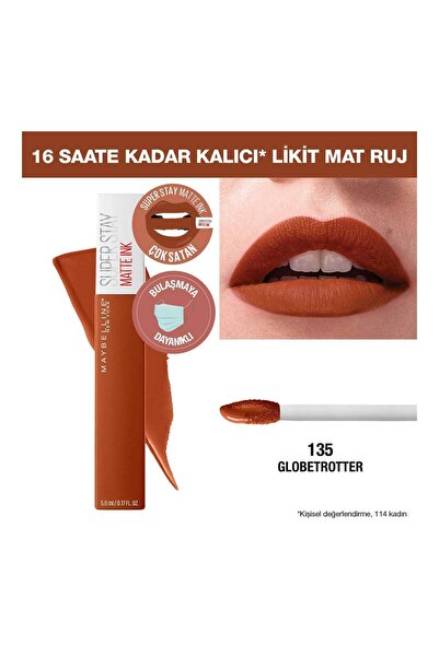 Maybelline New York Likit Mat Ruj - SuperStay Matte Ink City Edition Lipstick 135 Globe-Trotter 3600531513443