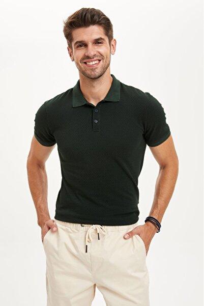 DeFacto Erkek Yeşil Slim Fit Polo Yaka Pike Tişört S3491AZ20HS