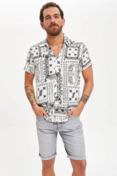 Erkek Beyaz Desenli Kısa Kollu Slim Fit Viskoz Gömlek S3322AZ20HS