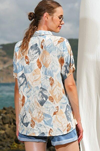 Kadın Bej Yaprak Desenli Dokuma Gömlek ALC-X4562