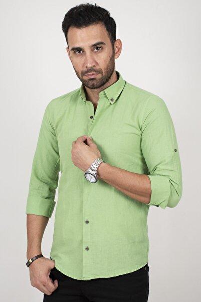 DeepSEA Erkek Yeşil Keten Regular Fit Gömlek 2004077