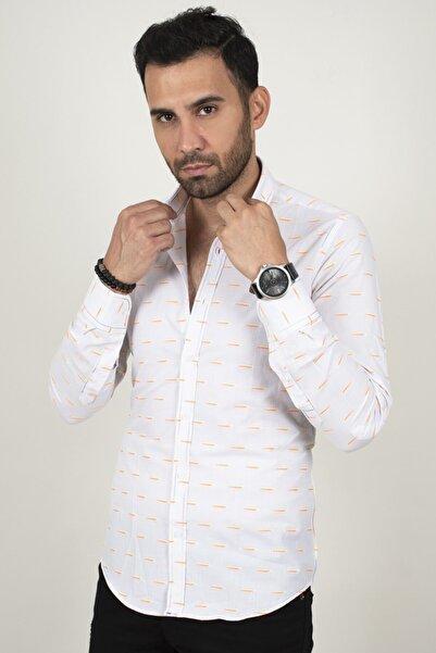 DeepSEA Erkek Beyaz Orange Noktalı Regular Fit Gömlek 2003159
