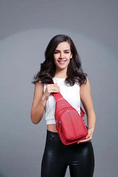CENGİZ PAKEL Kadın Kırmızı Postacı Çantası 7208