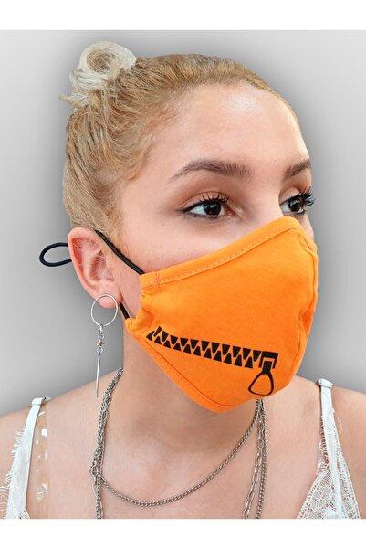 MOF Fermuar Baskılı Neon Turuncu Maske