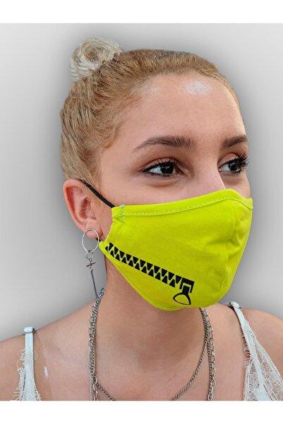 MOF Fermuar Baskılı Neon Sarı Maske
