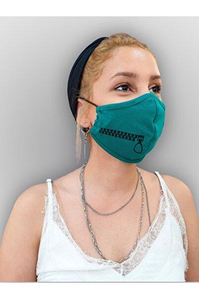 MOF Fermuar Baskılı Benetton Yeşili Maske