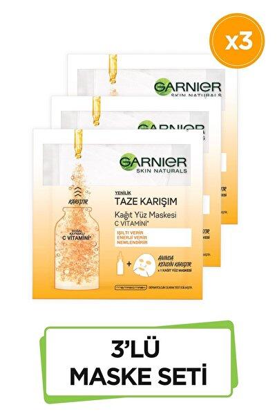 Garnier Taze Karışım Kağıt Yüz Maskesi Vitamin C 3'lü Set 86905958239282