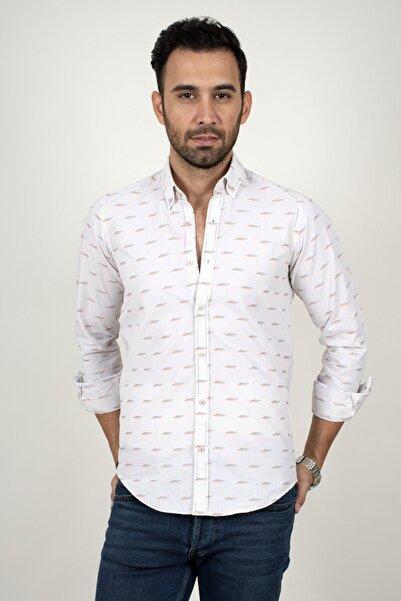 DeepSEA Erkek Beyaz Mavi Noktalı Regular Fit Gömlek 2003159