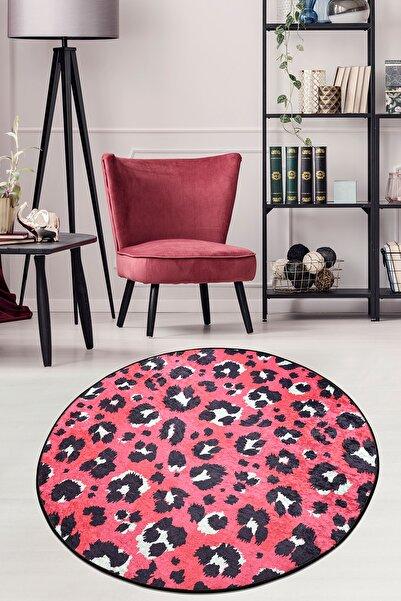 Leopard Pink Djt Çap Kaymaz Taban Dekoratif Halı