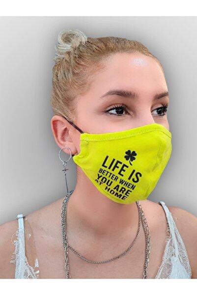 MOF Yonca Ve Yazı Baskılı Neon Sarı Maske
