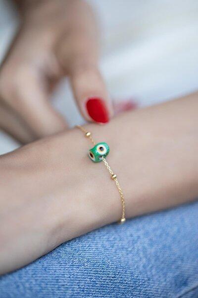 İzla Design Yeşil Nazarlık Model Altın Kaplama Toplu Zincir Gümüş Bileklik