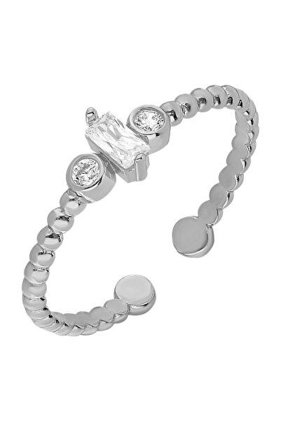 Chavin Gümüş Baget Taşlı Kadın Yüzük Mini Eklem Yüzüğü Ed68by