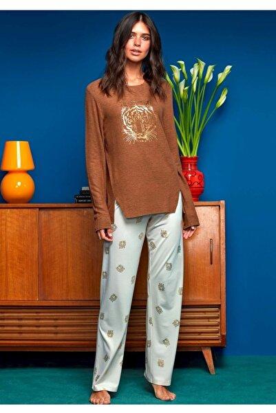 Penyemood Kadın Kahverengi Pijama Takımı 8623