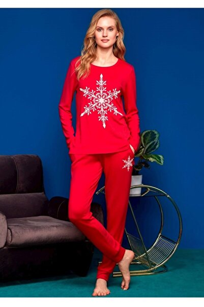 Penyemood Kadın Kırmızı Pijama Takımı 8651