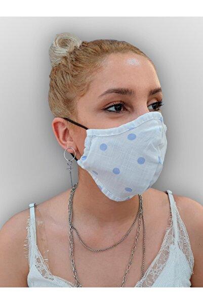 MOF Beyaz Mavi Puantiye Baskılı  Maske