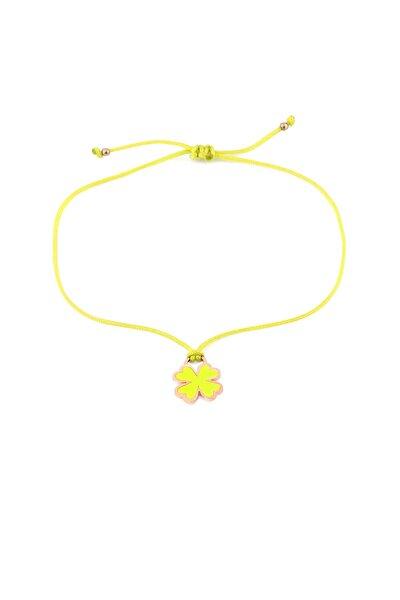MySilvers Sarı Neon Yonca Ipli Gümüş Halhal