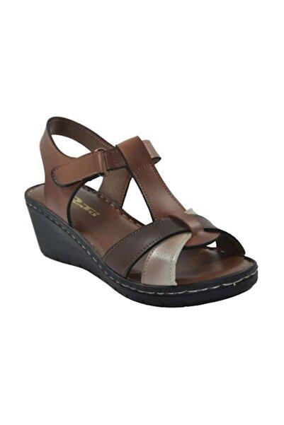 PUNTO 390108 Kadın Taba  Dolgu Topuk Sandalet 39