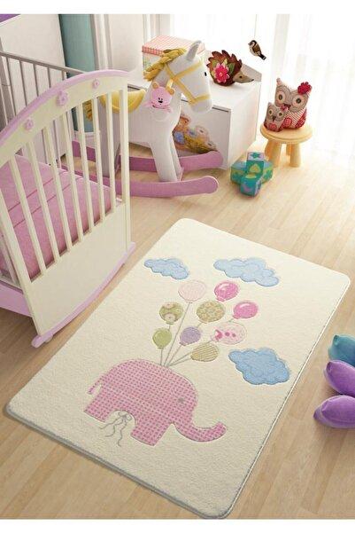 Confetti Sweet Elephant 133x190 Pembe Oymalı Çocuk Halısı