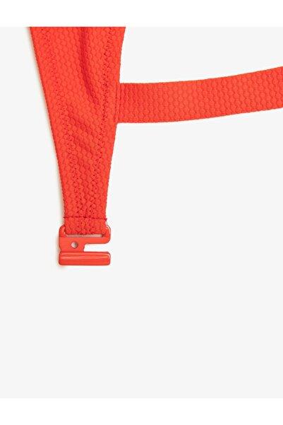 Kadın Kırmızı Petek Dokulu Balconette Bikini Üstü