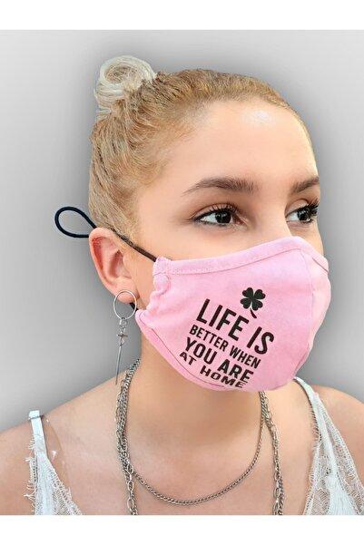 MOF Yonca ve Yazı Baskılı Pembe Maske