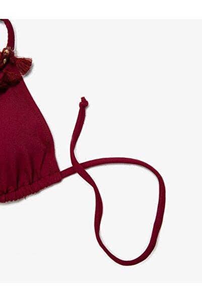 Kadın Bordo Püskül Detaylı Bikini Üstü