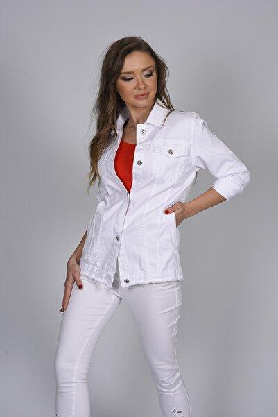 For Angels Kadın Beyaz Renkli Uzun Kot Ceket 193350136