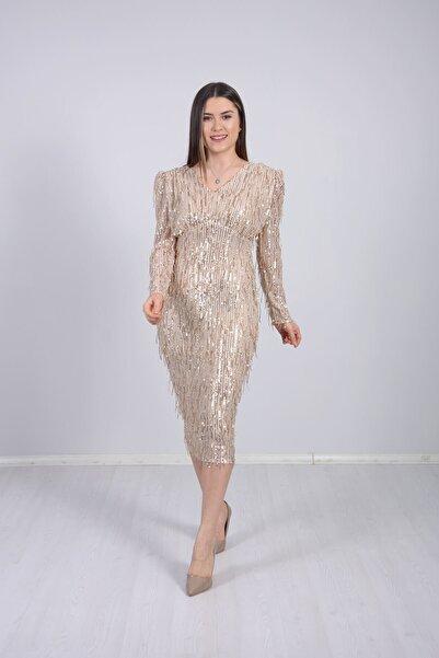 giyimmasalı Kadın Altın Saçaklı Midiboy Elbise