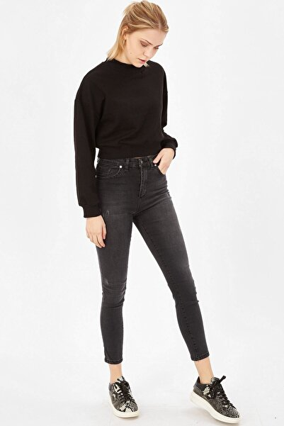 Kadın Gri Taşlanmış Lazerli Yüksek Bel Likralı Pantolon
