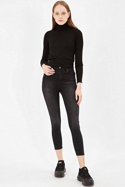 Kadın Taşlanmış Siyah Lazerli Yüksek Bel Pantolon