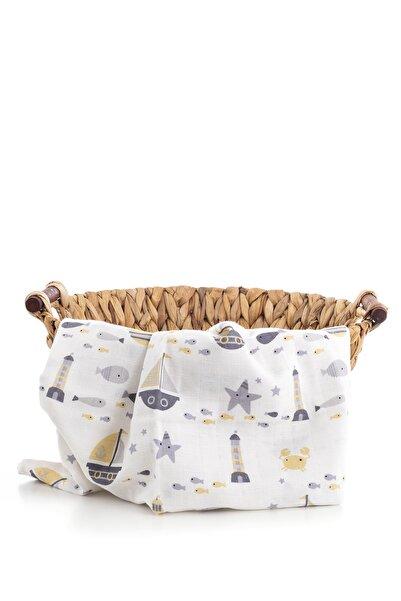 Caline Baby Müslin Bezi Örtü Gemi Desen - Sarı 90x75 Cm + 2 Adet Ağız Mendili