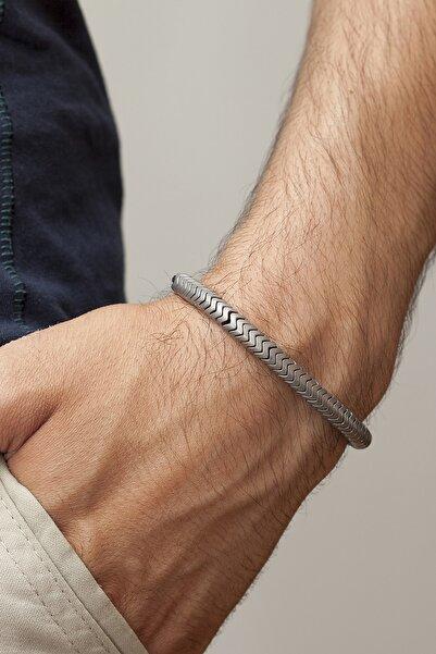Gümüş Tezgahi Yılan Desen Hematit Doğal Taş Makrome Erkek Bileklik