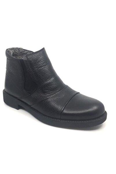 Taşpınar Erkek Siyah Hakiki Deri Içi Kürklü Kışlık Bot Ayakkabı