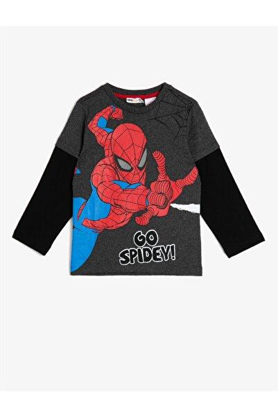 Koton Erkek Çocuk Gri Çocuk Renkli Marvel Lisansli Spiderman Baskılı Uzun Kollu T-Shirt
