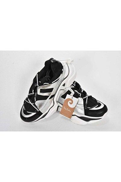 Pierre Cardin Kadın Siyah Gümüş Bağcıklı Sneaker